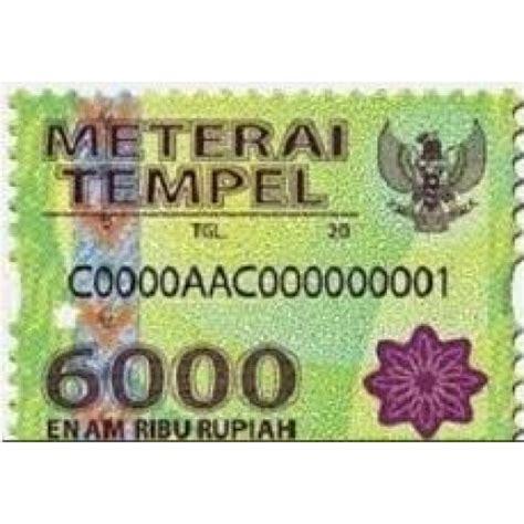 Indonesian Rp6000 Materai 2015 16