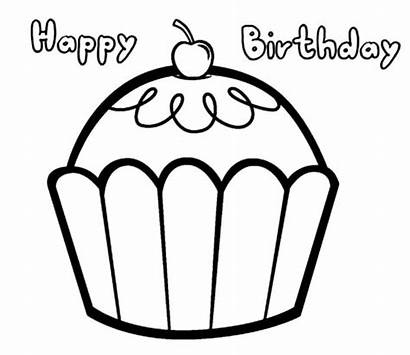 Birthday Coloring Pages Cupcakes Happy Easy Cupcake