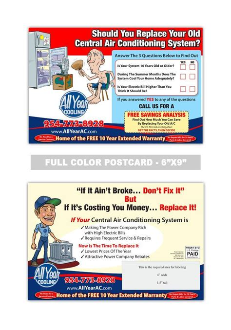 air conditioning  heating postcard samples heating