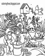 Coloring Garden Gnome Adults Gardening Printable Gnomes Malvorlagen Ausdrucken Zwerge Drawing Magic Landscape Advanced Getcolorings Flower Trees Watering Residence Enhanced sketch template