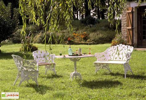 Salon de Jardin Fonte du2019Aluminium et Bois Fougu00e8re - Dommartin
