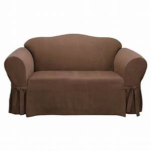 Shop soft suede chocolate microsuede sofa slipcover at for Suede slipcovers
