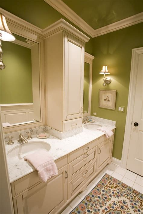 countertop middle storage cabinet between vanities and