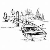 Stamps Dock Rowboat Serendipity Drawing Fishing Digi sketch template