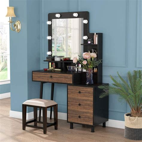 tribesigns makeup vanity table with lighted mirror