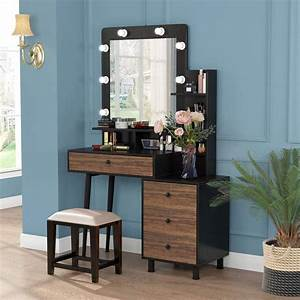 Tribesigns, Makeup, Vanity, Table, With, Lighted, Mirror, Vintage, Makeup, Dressing, Table, With, Large