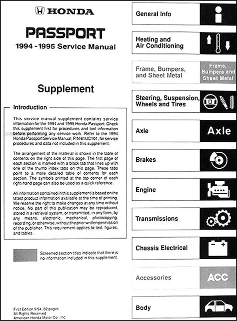 free car repair manuals 1994 honda passport interior lighting 1994 1995 honda passport repair shop manual supplement original