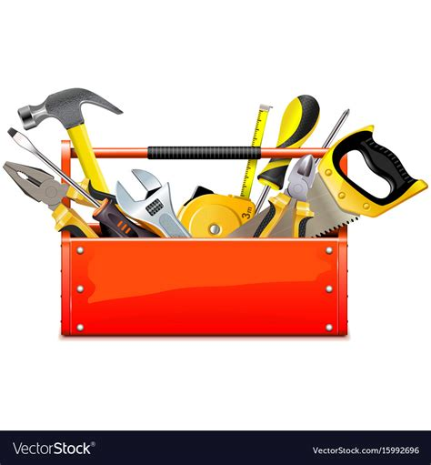 Red Toolbox With Hand Tools Royalty Free Vector Image