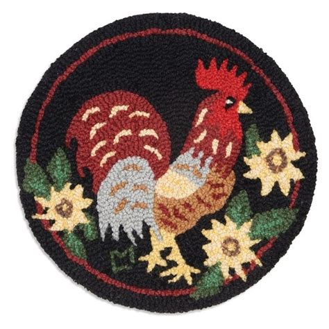 rooster hooked chair pads chanticleer rooster chair pad set of 4