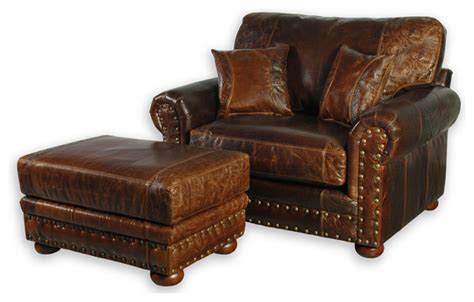 comfortable leather chair and ottoman western style leather oversized chair southwestern