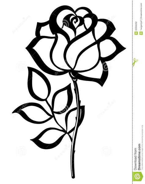 simple rose outline | Simple Single Rose Outline Black silhouette outline rose, | Art Therapy
