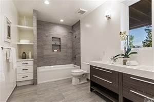 contemporary full bathroom with built in bookshelf wall With kitchen cabinet trends 2018 combined with paper dahlia wall art