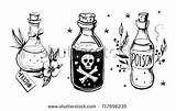 Bottle Drawing Bottles Tattoo Drawings Wiccan Alchemy Doodles Draw Potions Dark Drawn sketch template