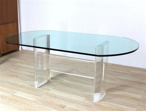 thick top dining table thick oval glass top lucite base dining conference table