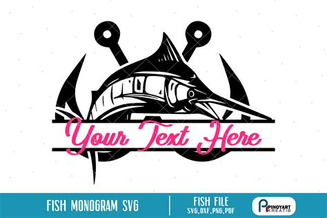 fish monogram svg sofontsy