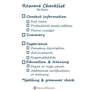 basic software skills resume resume checklist the basics preparation
