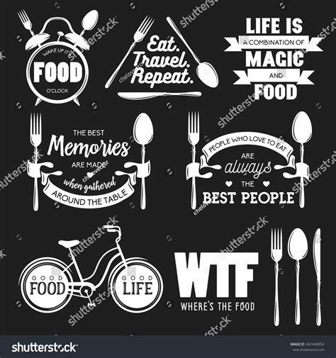 quotes about kitchen design set vintage food related typographic quotes stock vector 4480