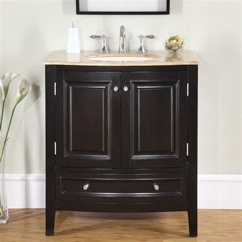 "Silkroad Exclusive 32"" Single Sink Cabinet   Travertine"