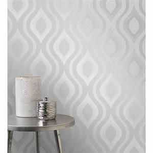 Quartz Geo Wallpaper - Silver Wallpaper - B&M