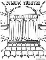 Theater Theatre Coloring Stage Pages Drawing Sketch Template Building Bolshoi Templates sketch template