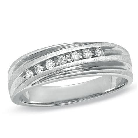 men s 1 8 ct t w diamond wedding band in 14k white gold wedding bands wedding zales