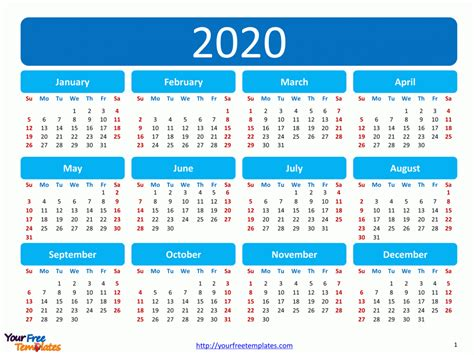 Download free printable 2021 calendar as word calendar template. Printable calendar 2020 template - Free PowerPoint Templates