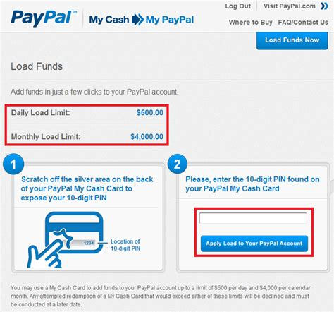 The main method that most people use is a direct bank transfer. Load PayPal My Cash Cards to your PayPal Account