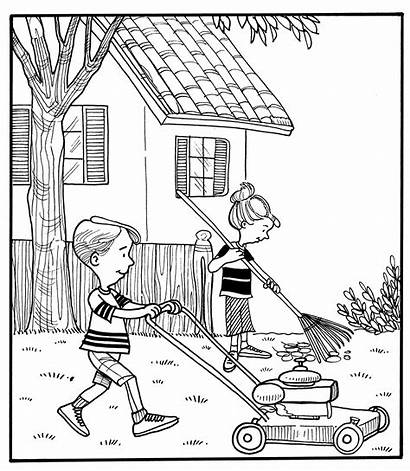 Drawing Backyard Yard Coloring Pages Doing Lawn