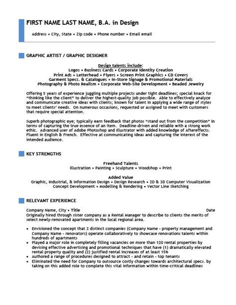 graphic artist resume template premium resume sles