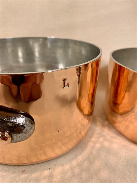 set   hammered french copper tin lined sauce pans marked edehillerin paris rocky mountain