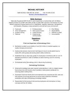emt resume skills exles emt resume