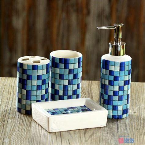 pcsset fashion mosaics ceramic bathroom accessories set