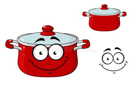 Little Red Cartoon Cooking Saucepan With A Lid Stock