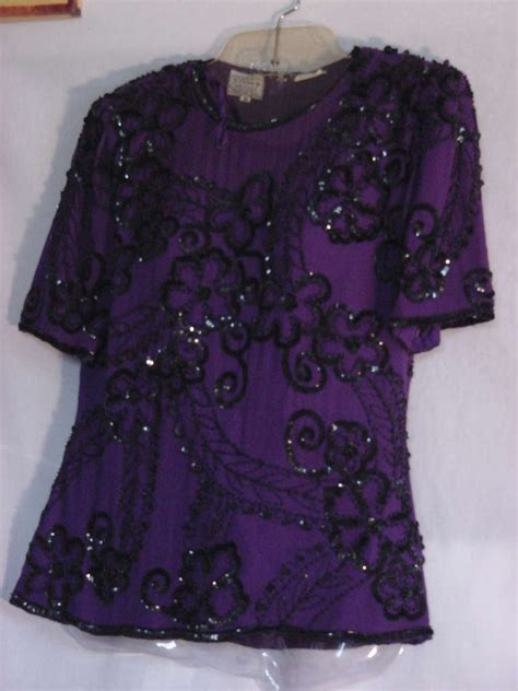 beaded blouse stenay evening top sequin beaded blouse pullover medium