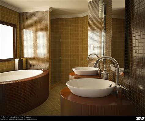 salle de bain marron bois avec baignoire et 2 lavabos bain design