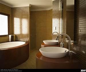 Salle de bain marron bois avec baignoire et 2 lavabos for Salle de bain design avec ensemble salle de bain bois