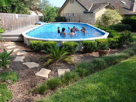 Above Ground Pool Decks Photos Landscaping by Useful Cheap Landscaping Ideas For Above Ground Pools