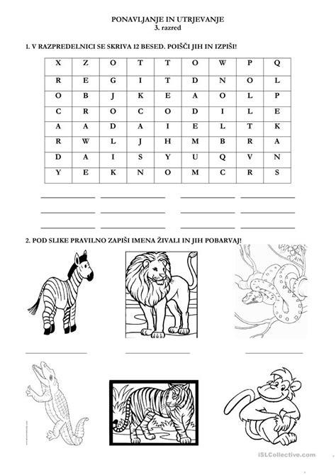 safari animals worksheet free esl printable worksheets