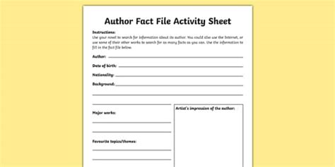 Author Fact File Worksheet / Worksheet-Irish, worksheet