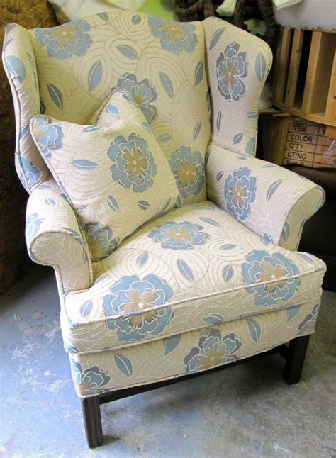 Reupholster Furniture by Diy Reupholstered Wingback Chair Before After Fabric
