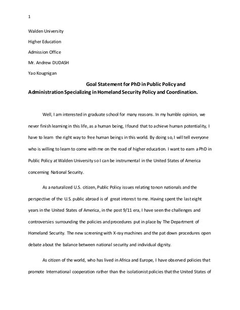 goal statement for phd in policy and administration