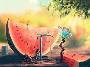 Art, Summer, Watermelon, Girl, Butterfly, Painting