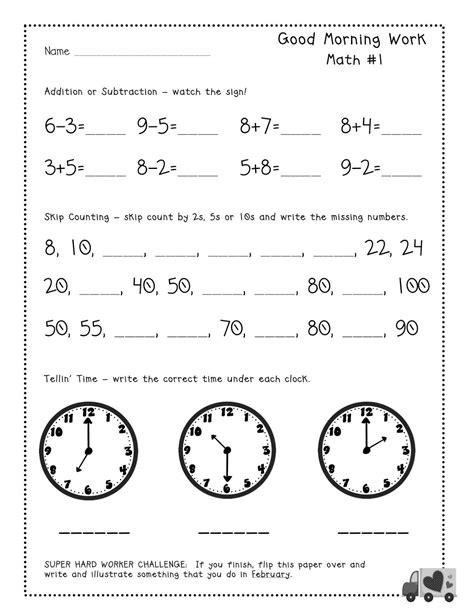 morning work worksheets for 2nd grade worksheet exle