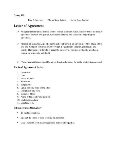 letter of agreement agreement letter hardcopy