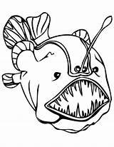 Coloring Sea Pages Fish Deep Creatures Angler Monster Anglerfish Colouring Teeth Under Enormous Sheets Printable Merman Mermaids Outlines Draw Octopus sketch template