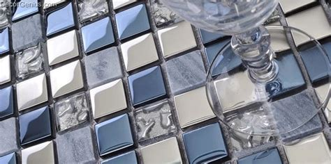 Stainless Steel And Glass Backsplash : Blue Silver Wall Tile Blend Metal And Glass Stainless