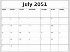 July 2051 Birthday Calendar Template