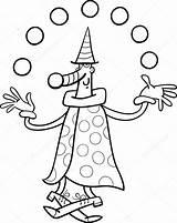 Clown Juggler Circus Jongleur Kleurplaat Coloring Colorare Malvorlagen Zirkus Pagliaccio Depositphotos Stockillustratie Disegni Bobo Twinkle Elf Bild sketch template