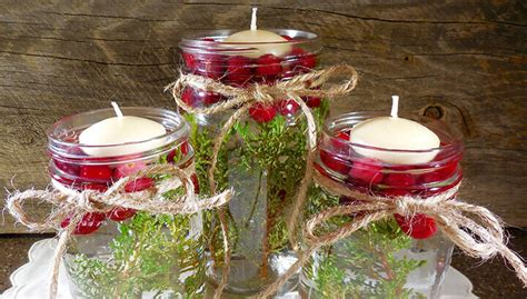 christmas floating candles  cranberries  greenery