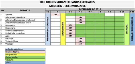 calendario juegos deportivos sudamericanos medellin